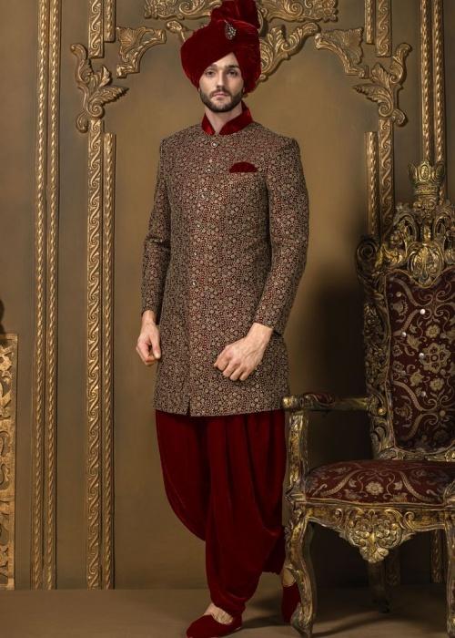 Red-Sherwani-style-for-man